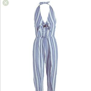 Thread story stripe jumpsuit